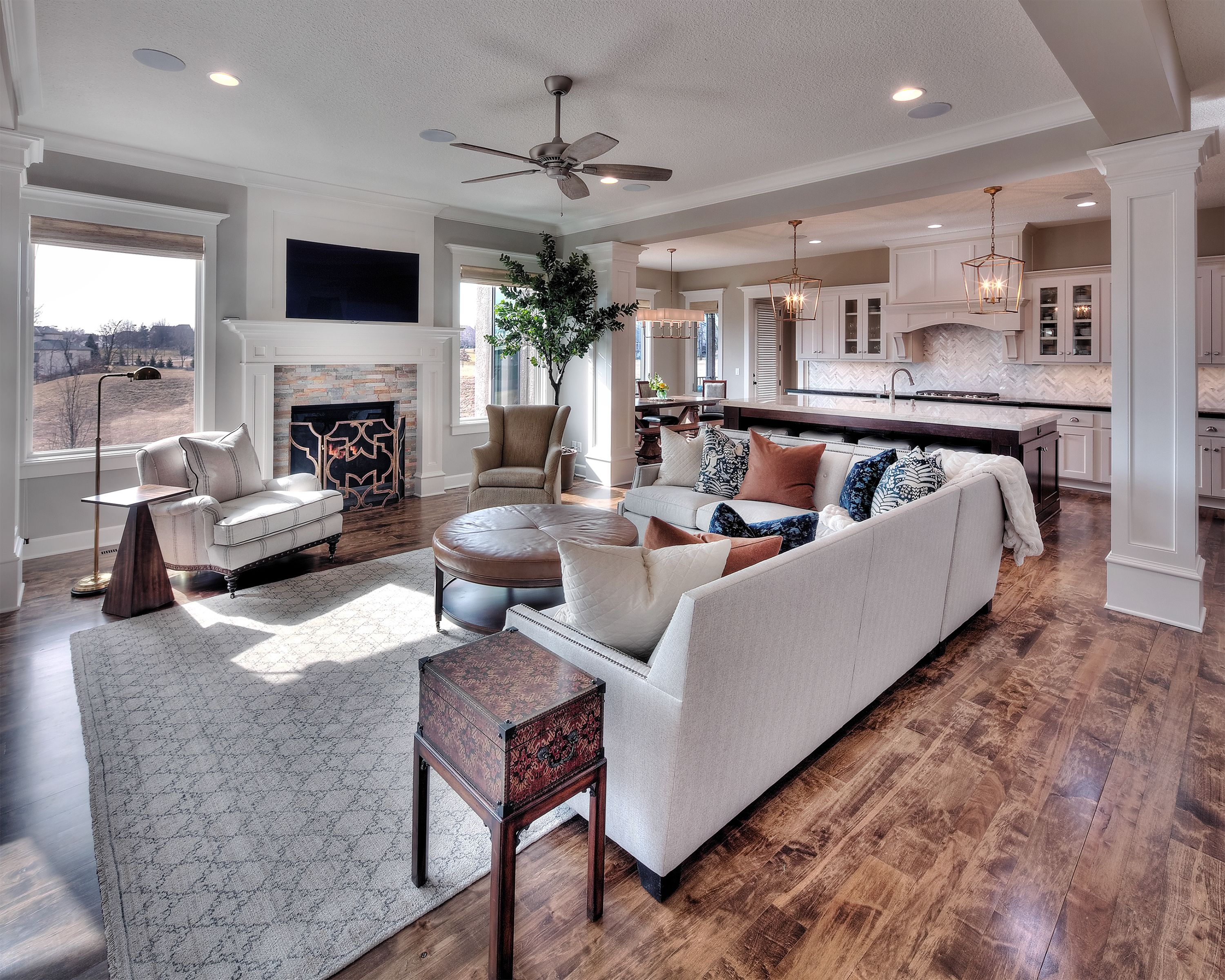 Family room mounted tv with a standard fireplace open - Open floor plan kitchen living room dining room ...