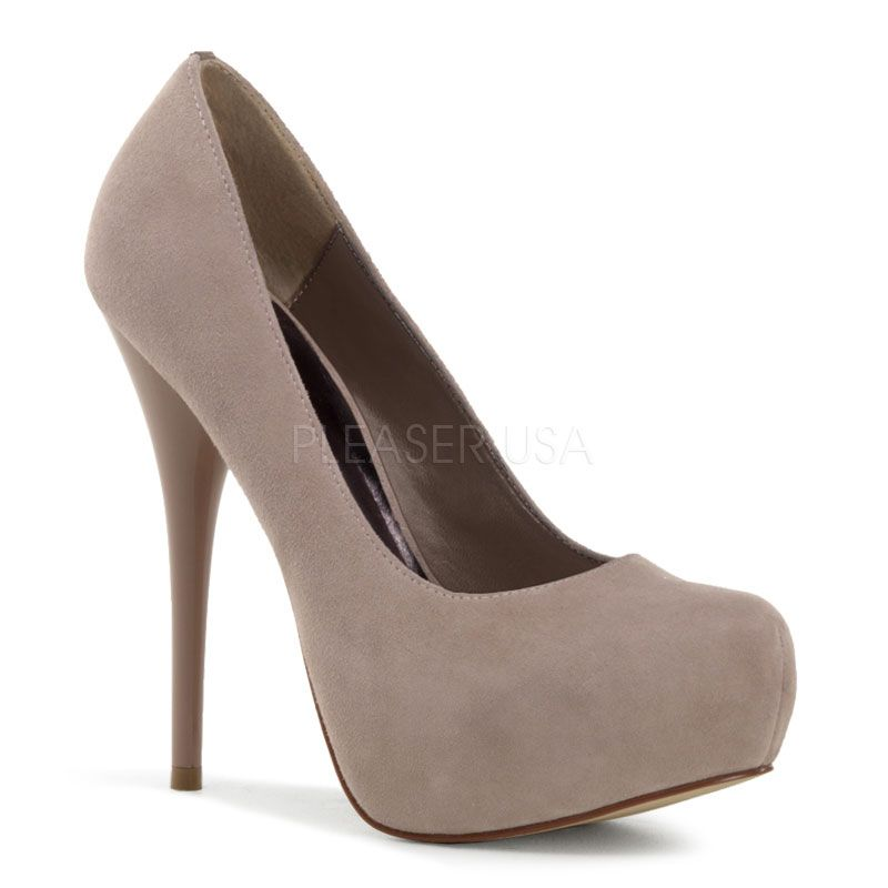 Pleaser Shoes Gorgeous-20 - Sophisticated Blush Suede Concealed Platform Pinup Pumps with 5 1/4 inch Stiletto Heel $86.40