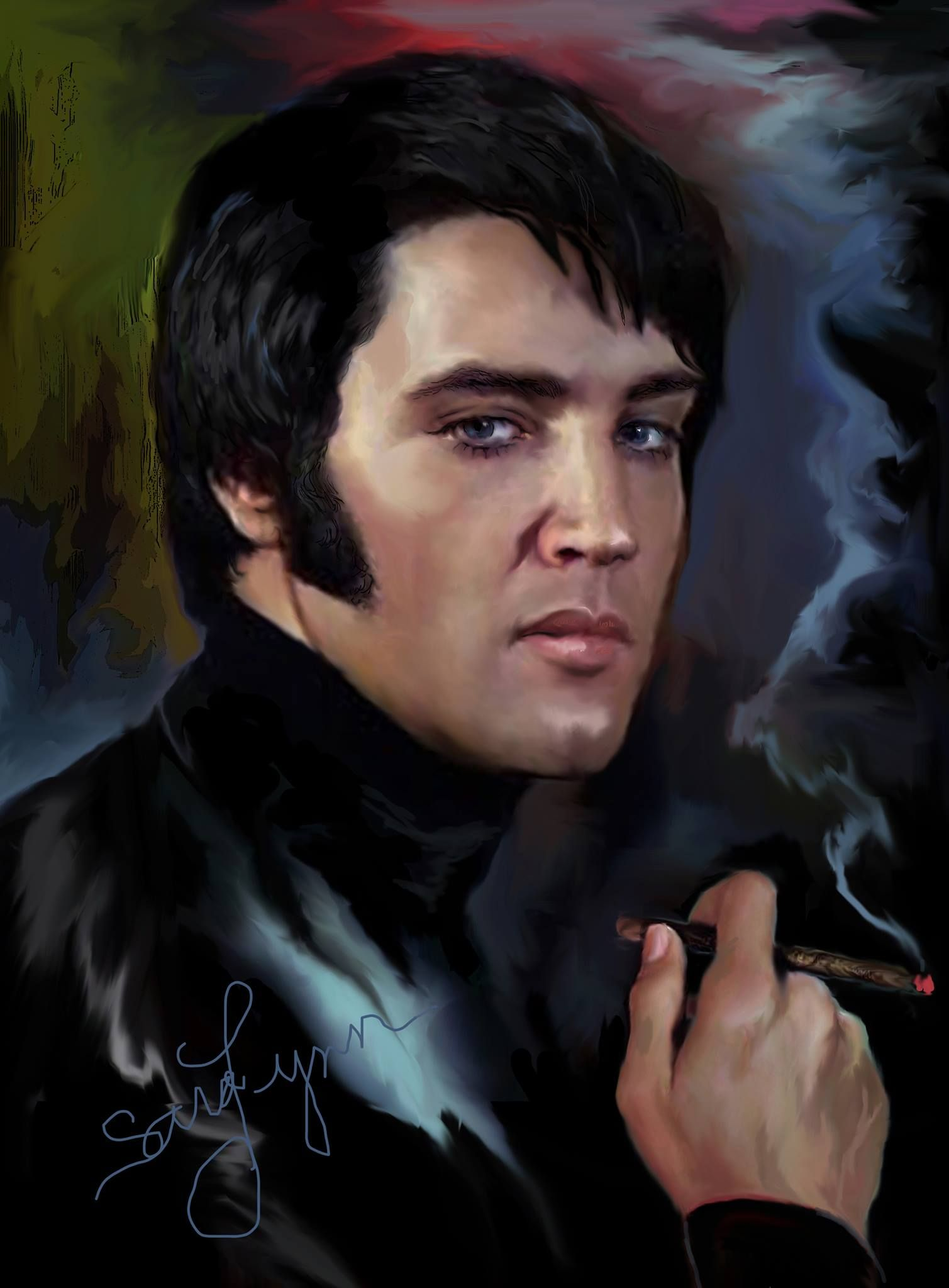 ♡♥Elvis Presley smokes a cigar painting by Sara Lynn Sanders