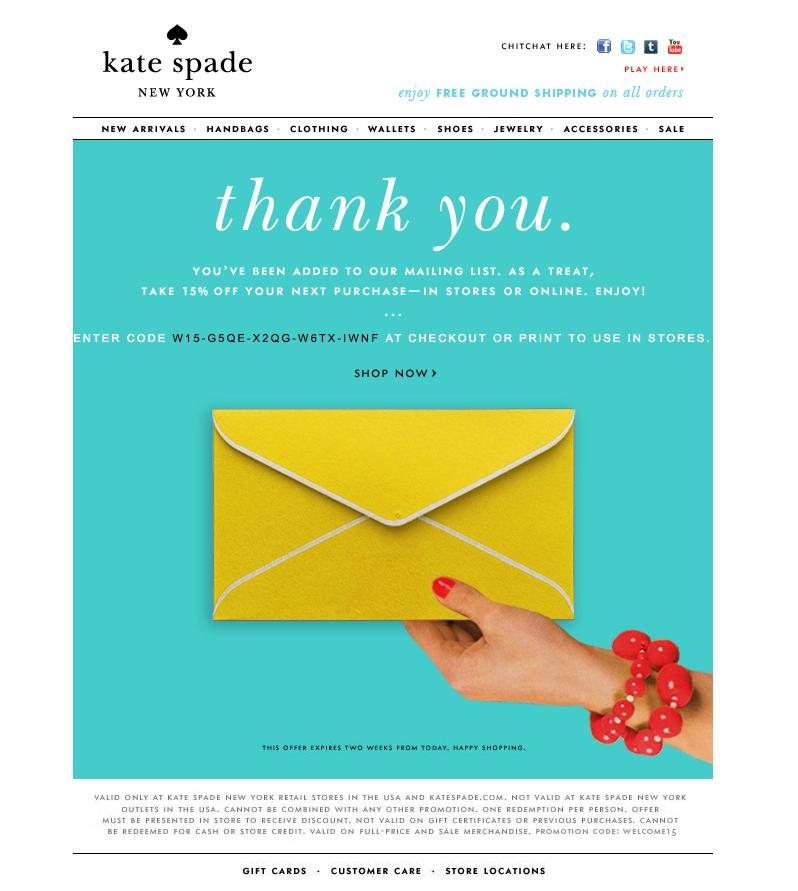 kate spade promo code for 15 off emailers email. Black Bedroom Furniture Sets. Home Design Ideas