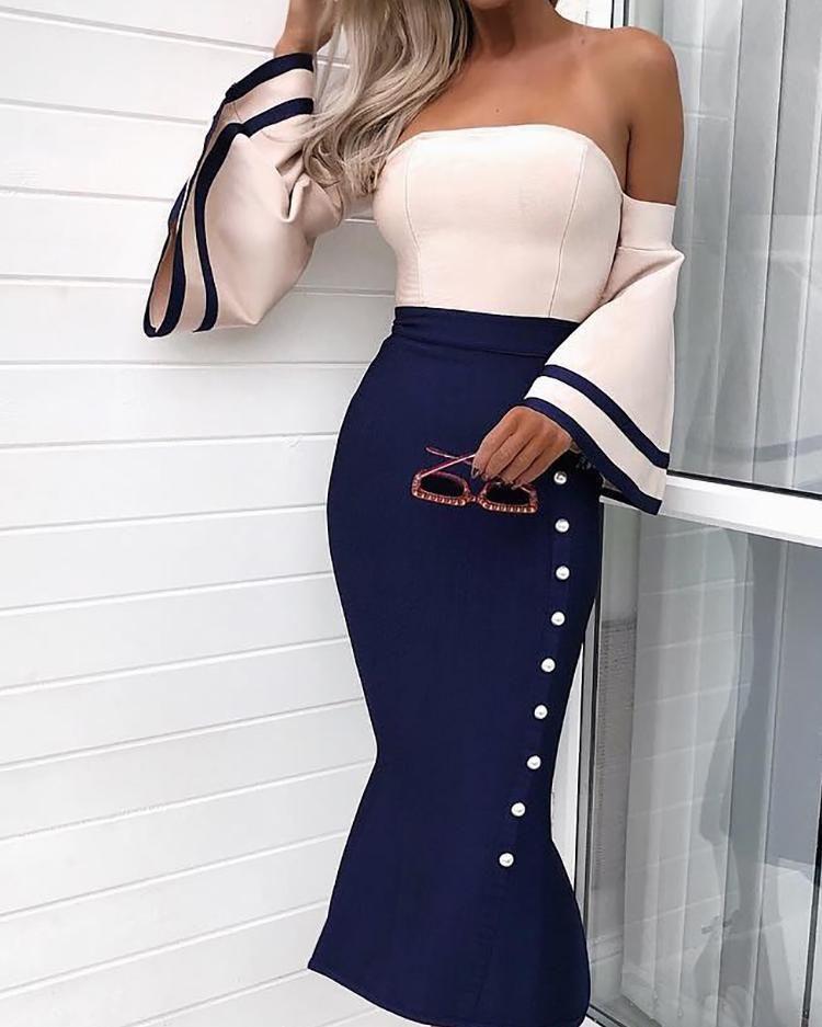 Bell Sleeve Button Design Cocktail Party Dress - Long sleeve bodycon dress, Cocktail party dress, Fashion, Sequin party dress, Party dress, Dresses - colorMulticolor sizeXL