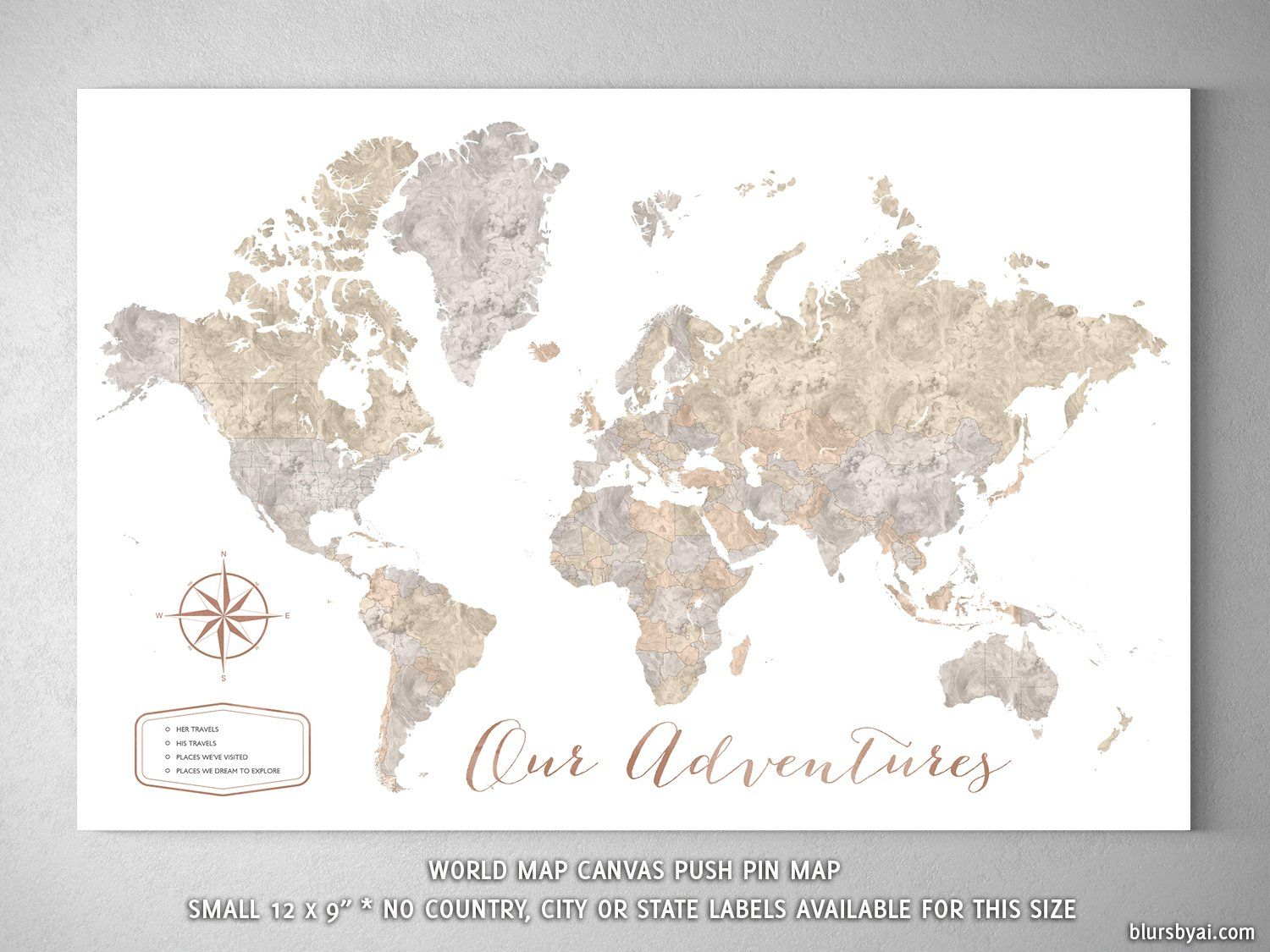 Our Adventures small world map push pin for marking your travels