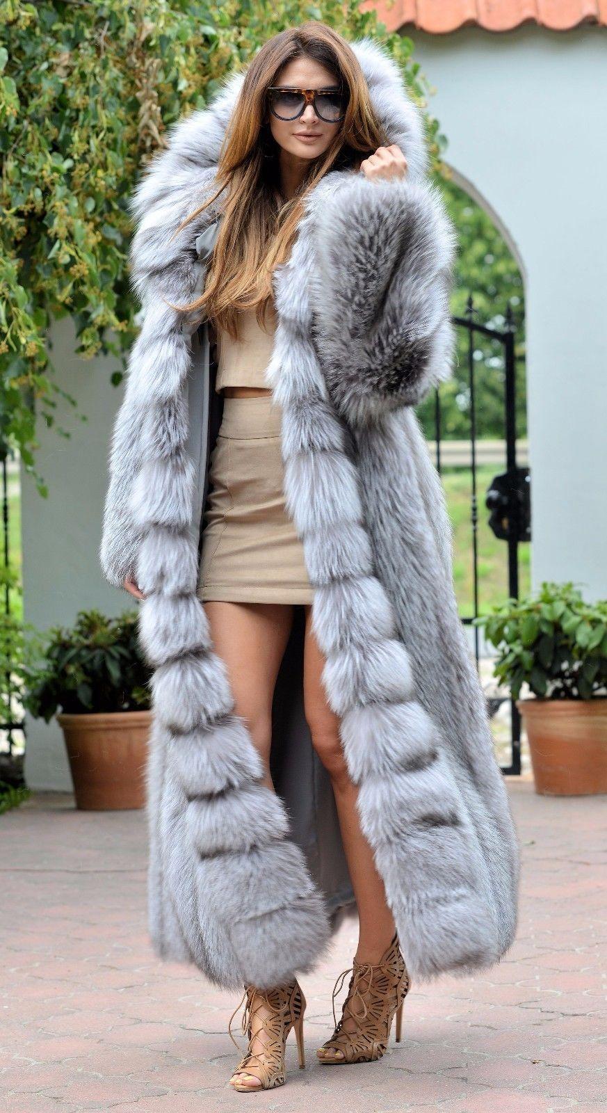 Platinum fox long fur coat hood class- chinchilla sable jacket ...