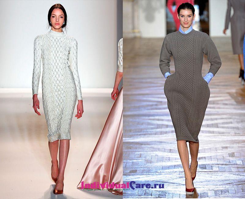 Модные вязаные платья 2017 зима 87
