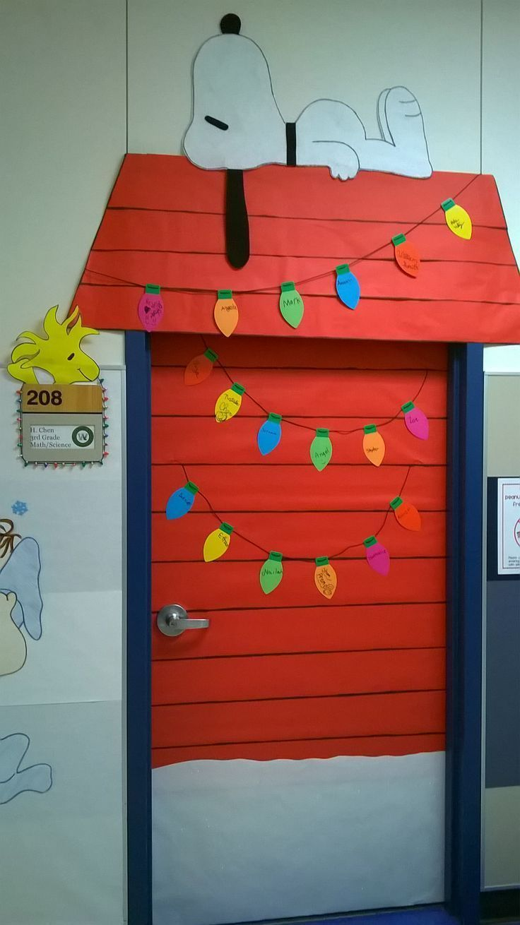 Charlie Brown Christmas classroom door decoration-- love that Snoopy and little Woodstock! #christmasdoordecorationsforwork