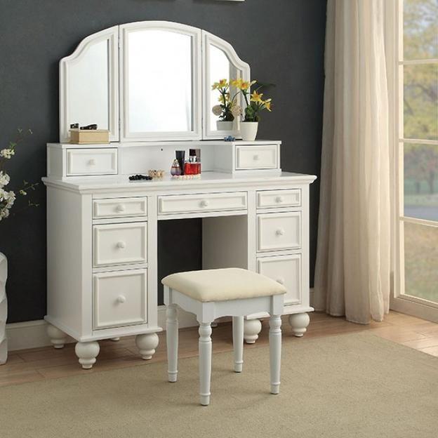 Elegant Wood Vanity Table and Stool