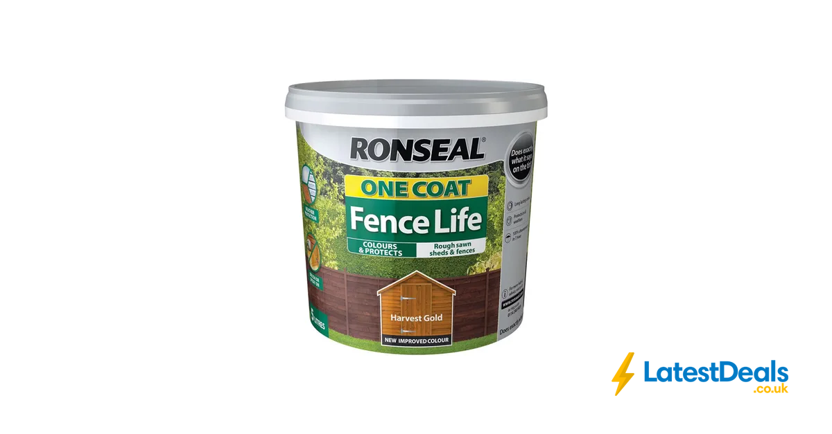 Half Price Ronseal One Coat Fence Life Harvest Gold Exterior Wood Paint 5l 4 At Wilko Exterior Wood Paint Exterior Wood Painting On Wood