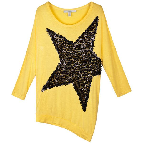 Yellow Sequin Star Print Asymmetric T-shirt ($52) ❤ liked on Polyvore