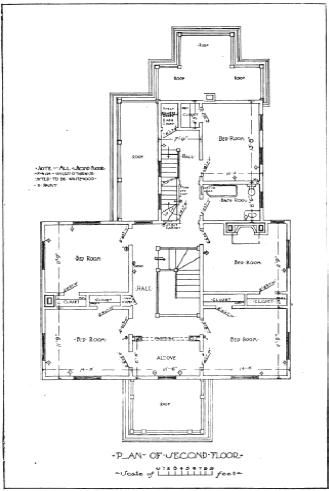 Floor plan for second floor of late 19th Century home