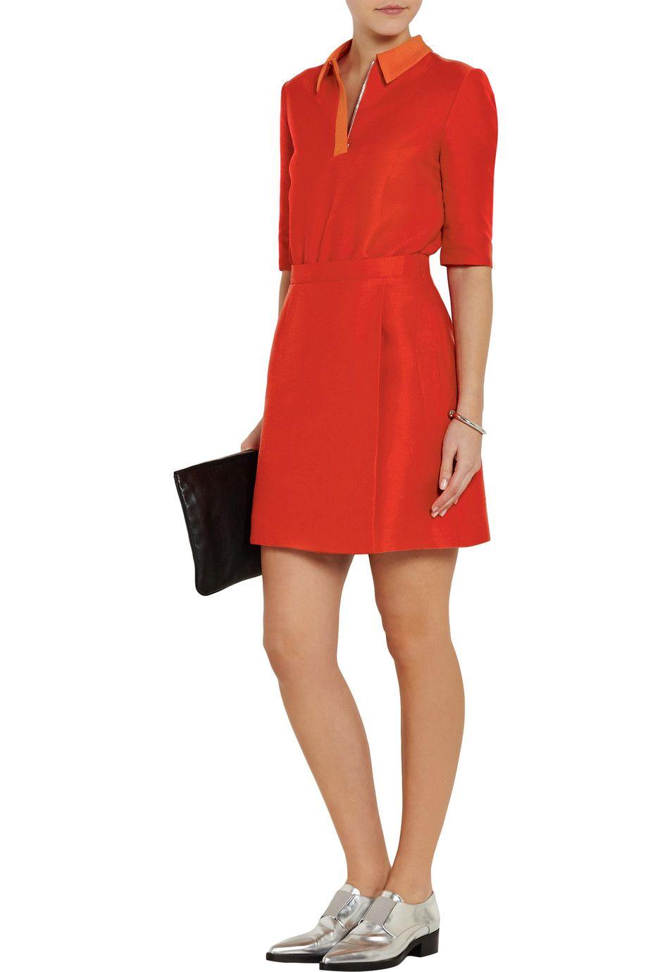 Tomato Red Contrast Collar Cady Dress Victoria Victoria Beckham Contrast Collar Dresses Victoria Dress [ 1380 x 920 Pixel ]