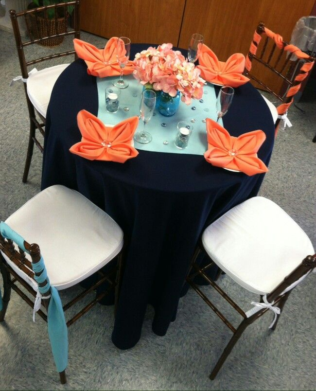 Minimalist Navy color tablecloth with aqua and coral touches Style - Popular navy napkins Top Search