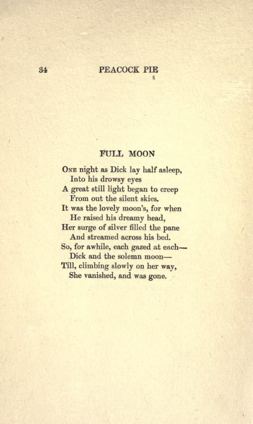 From Peapie By Walter De La Mare 1913