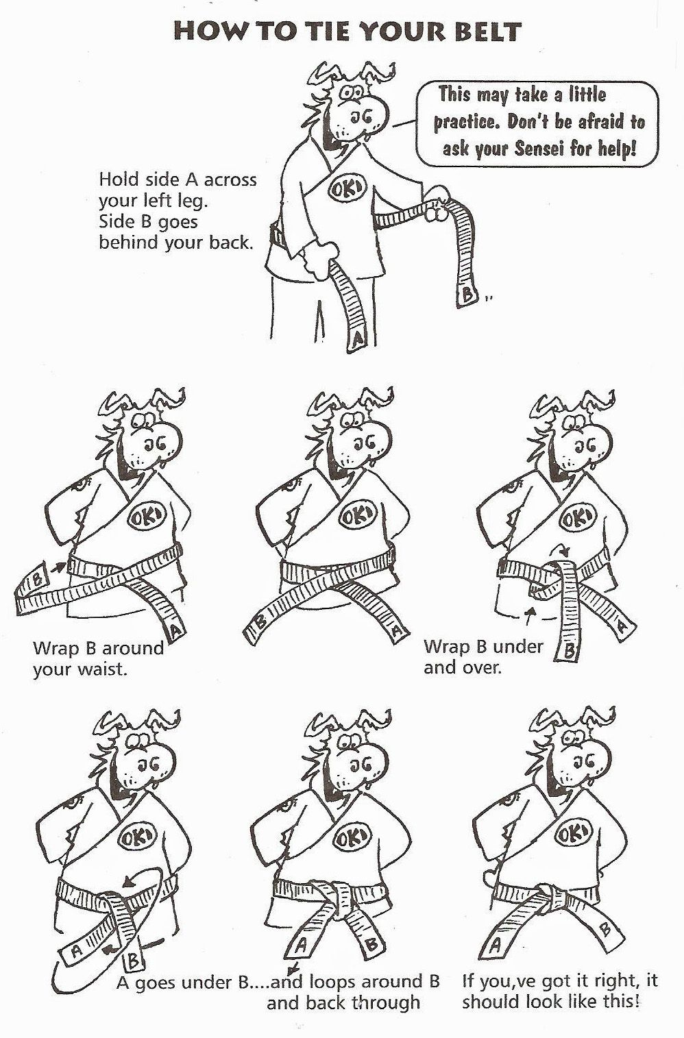 how to tie karate belt