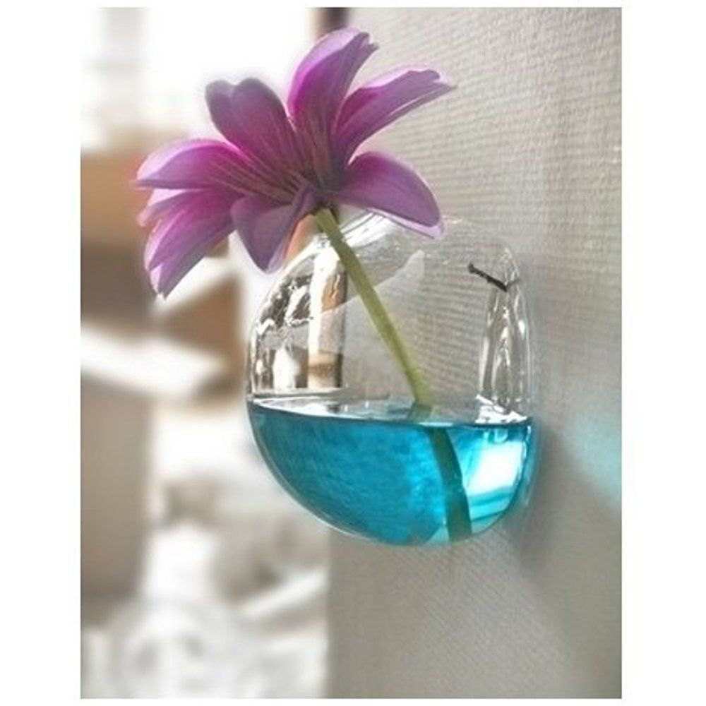 Wall Mount Hanging Vase Transparent Glass Hydroponic Home Office ...