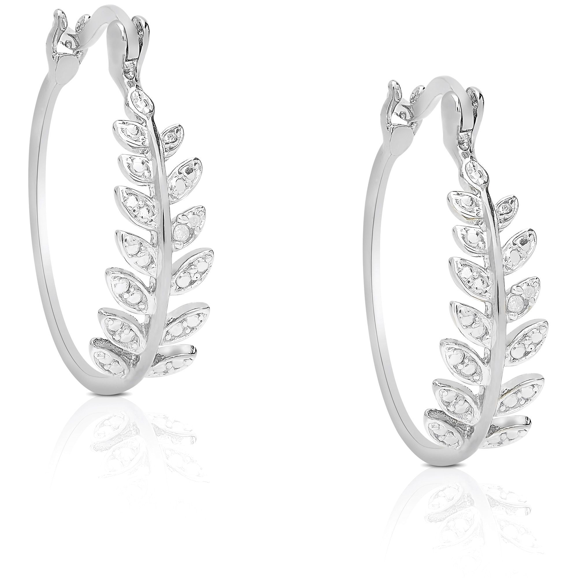 Finesque Sterling Silver Diamond Accent Leaf Hoop Earrings Yellow