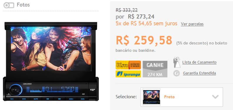 "DVD Player Automotivo Aquarius Retrátil DPA 3001 Touch Screen 7"" USB << R$ 25958 >>"