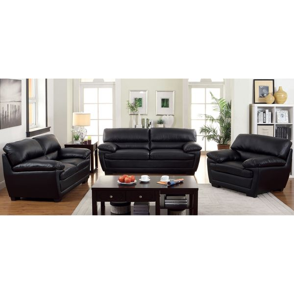 Furniture of America Darrell Faux Leather 3 Piece Sofa Set