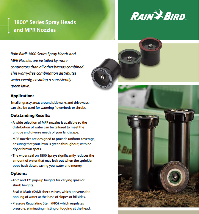 Rainbird 1800 Sprinkler Systems installed and repaired in
