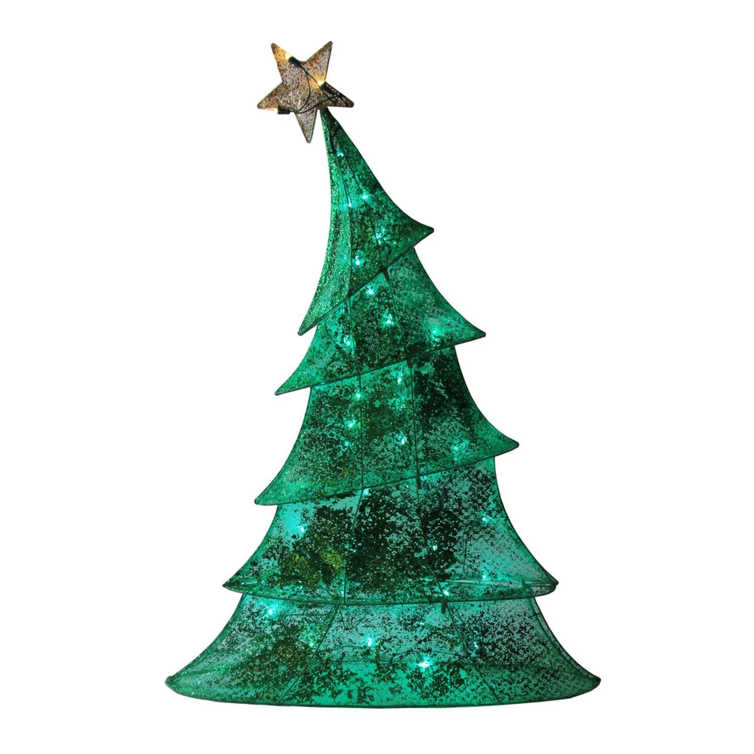 48 LED Lighted 2D Green Glitter Mesh Whimsical Christmas Tree Yard