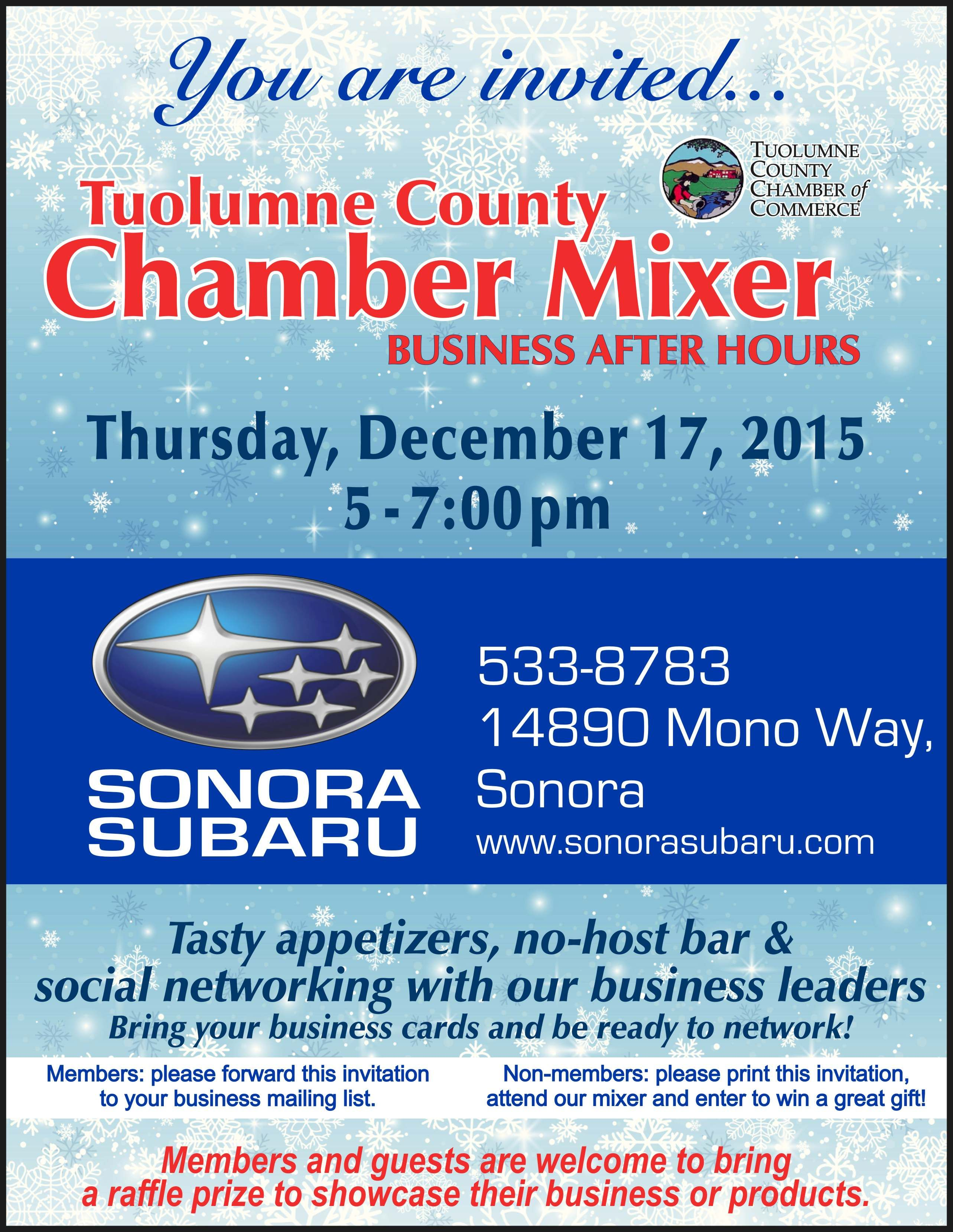Christmas Mixer next Thursday at Sonora Subaru