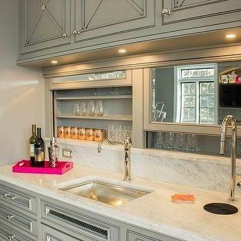 Gray wet bar with built in beer tap and sliding backsplash - Built in wet bar ideas ...