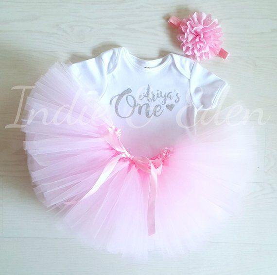 b377d4933 Baby girls 1st Birthday tutu birthday pink personalised gold silver ...