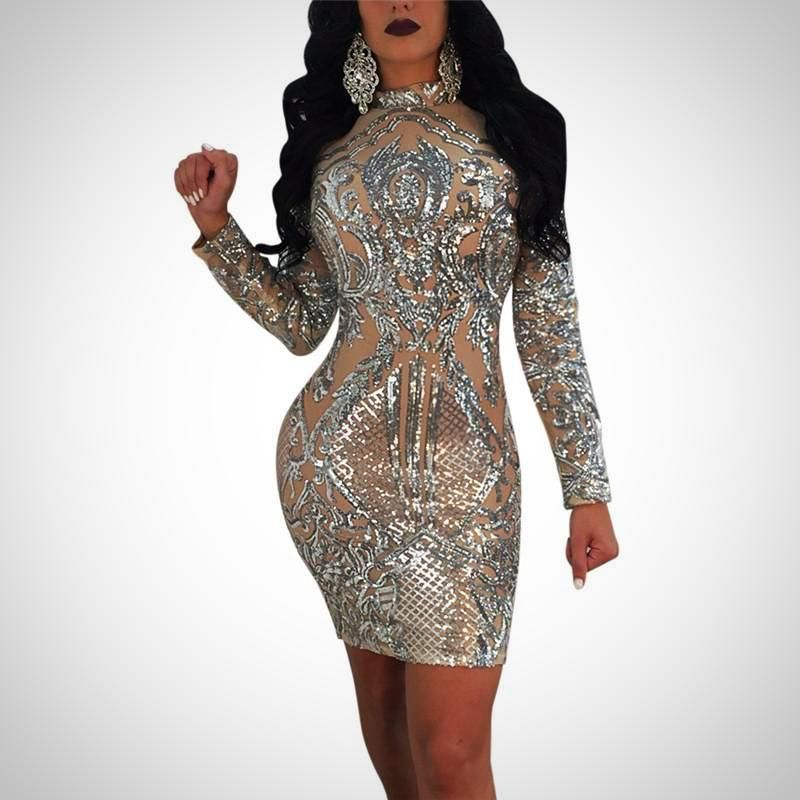 High-end Sequin Sexy Perspective Mesh Dress