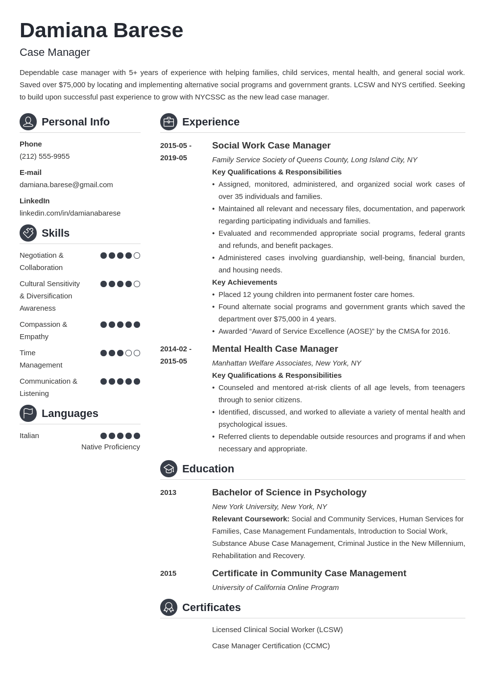 case manager resume example template crisp in 2020