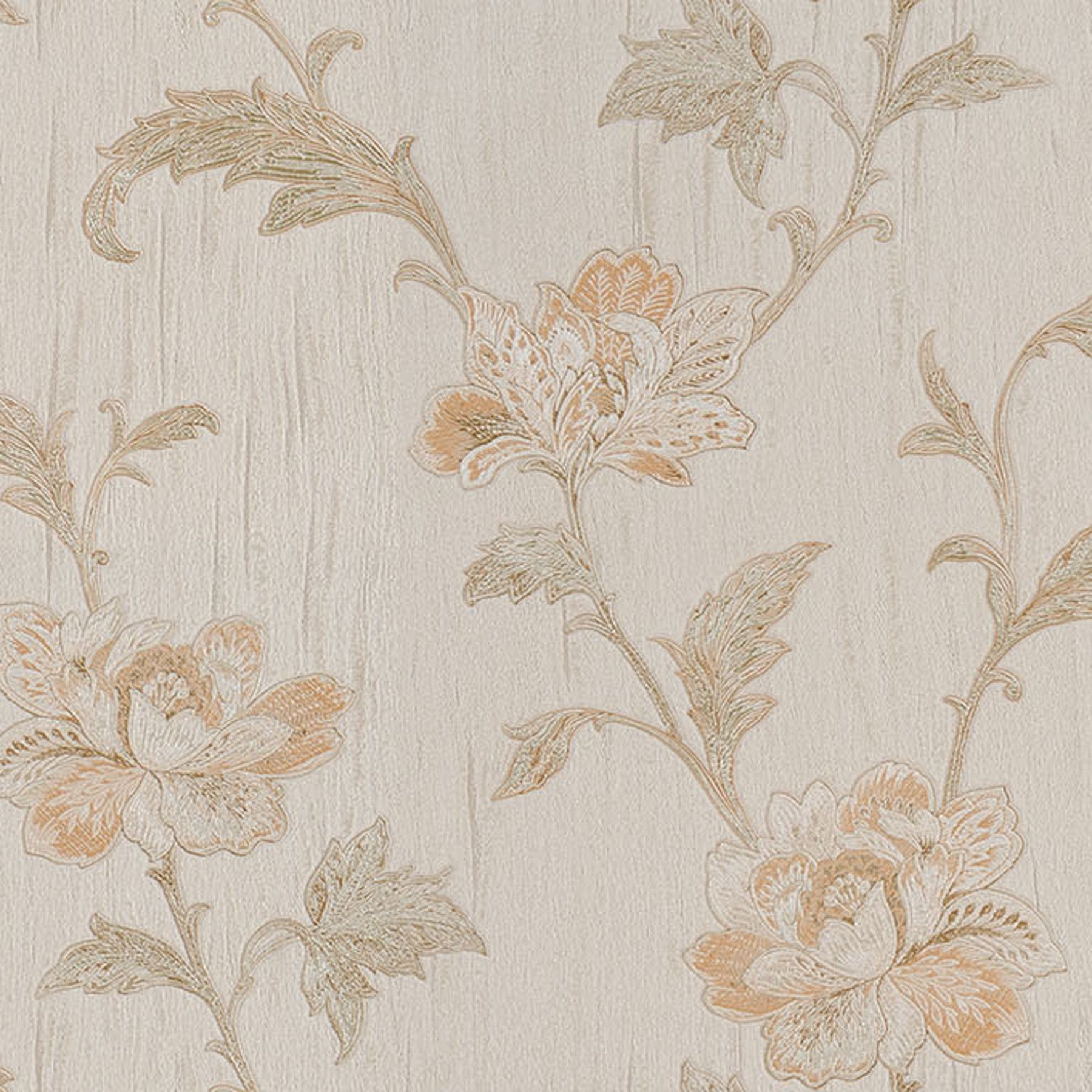 "Venezia Gemma Embroidered Jacobean 33' x 27"" Floral 3D Embossed Wallpaper"
