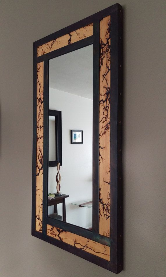 Metal Framed Wall Mirror With Lichtenberg Patterns Rustic