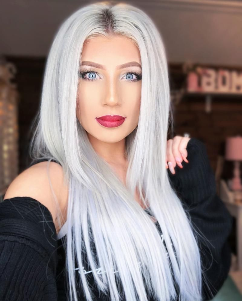 Ombre Red Lip Love White Hair Color Silvery Blonde Hair White Blonde Hair