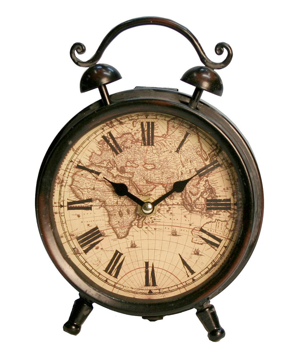 Loving this brown cream old world table clock on zulily world map tabletop clock rodworks gumiabroncs Image collections