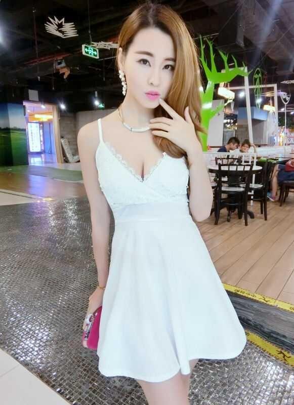 CW32536 Low-cut slim sexy Korean style nightclub V-neck summer dress ... 6c90648f8