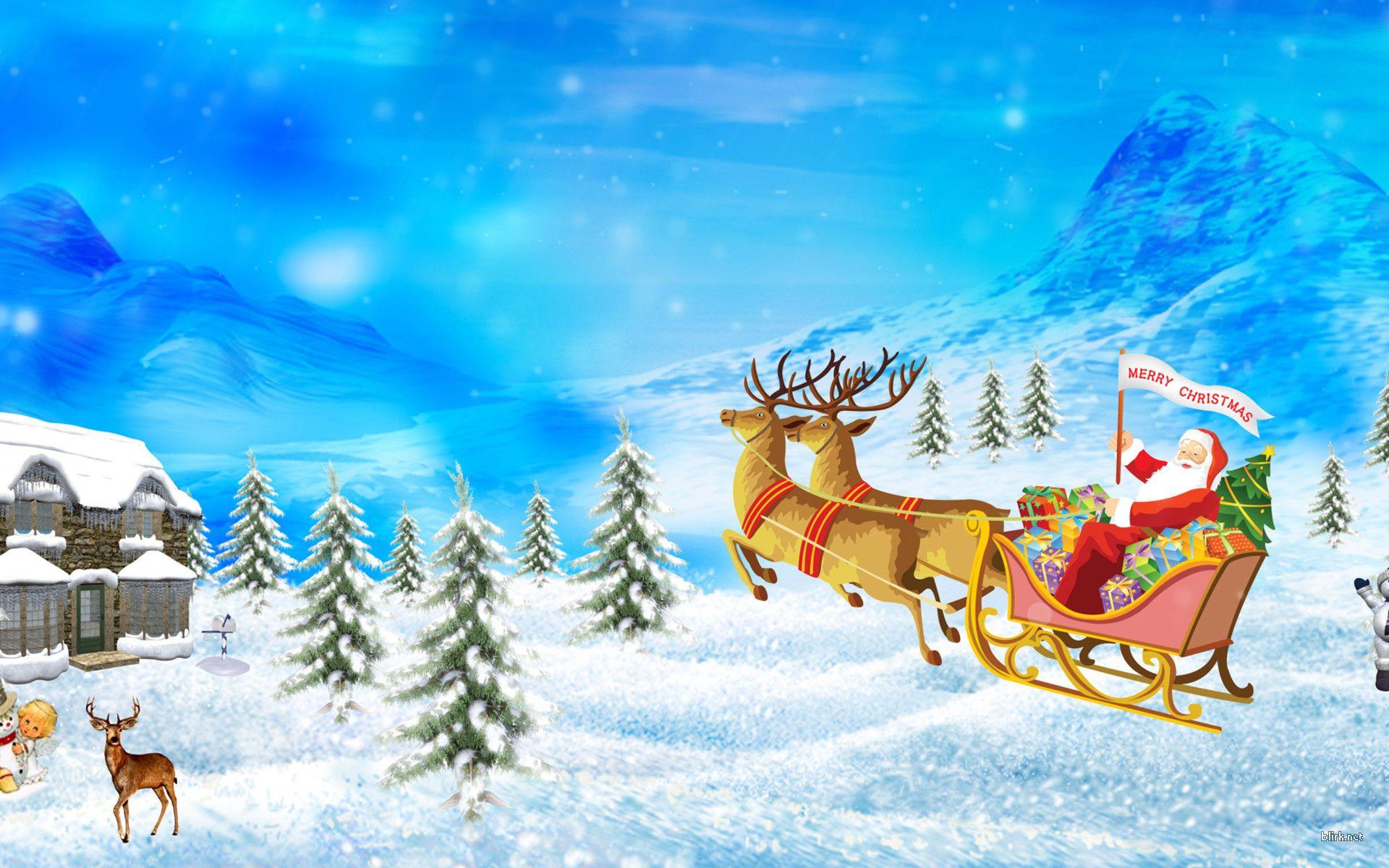 Santa Claus Renideer WallPaper HD claus