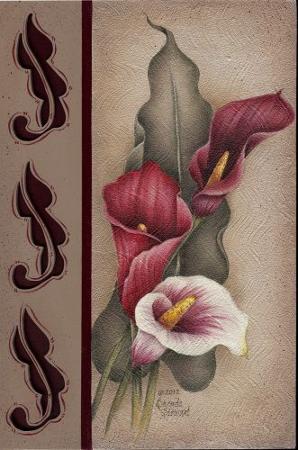 Calla Lily Dance by Brenda Stewart. (Acrylics) pattern packet available.