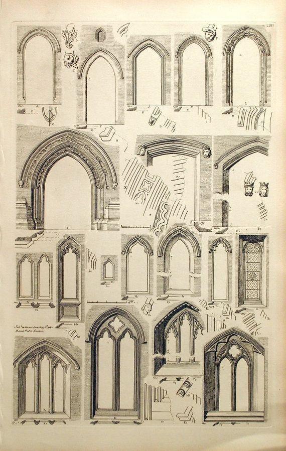 1845 antiguo grabado de la arquitectura británica por bananastrudel #gothicarchitecture