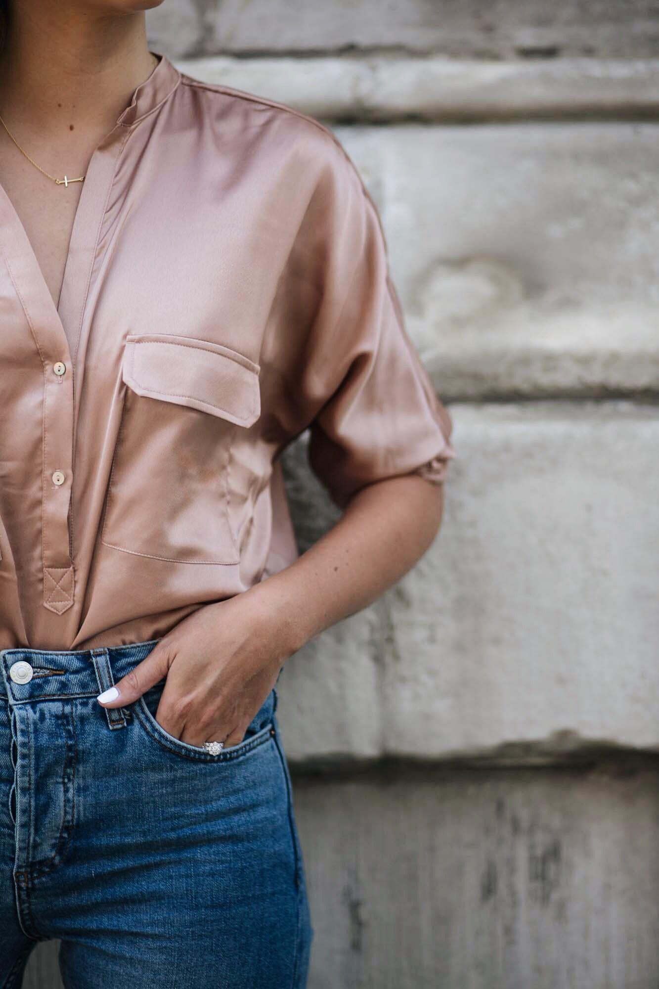 b32ab1b4c872a rose gold satin shirt