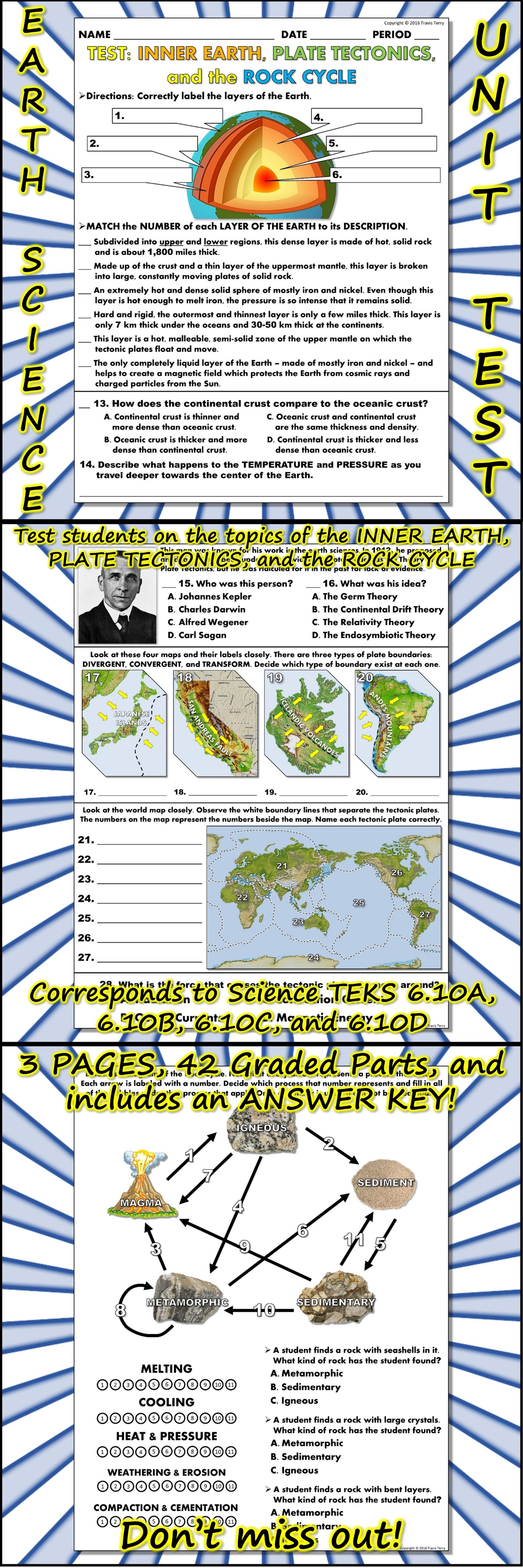 This Is An Earth Science Unit Test That Covers The Topics Of The Earth S Layers Plate Tectonics