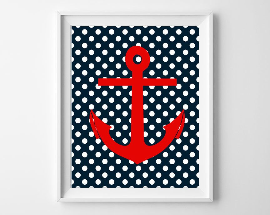 Navy polka dot and red anchor Nautical decor, Digital Anchor art print,Navy Red Bedding Wall Baby Boy Decor. Digital Print, Instant download by OnlyPrintableArts on Etsy https://www.etsy.com/listing/200163676/navy-polka-dot-and-red-anchor-nautical