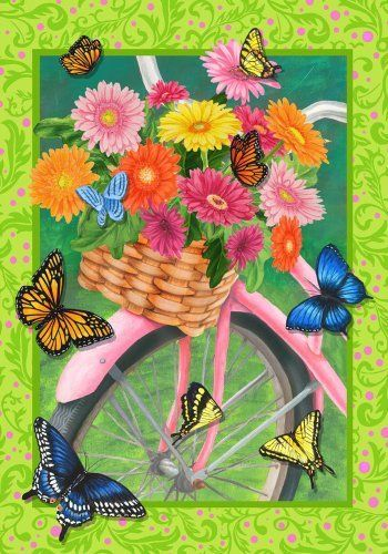 Flower power bicycle butterflies mini flag by custom d cor for Custom decor inc