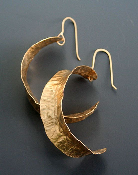 fold formed jewelry / Elongated Folded Leaf Hoops