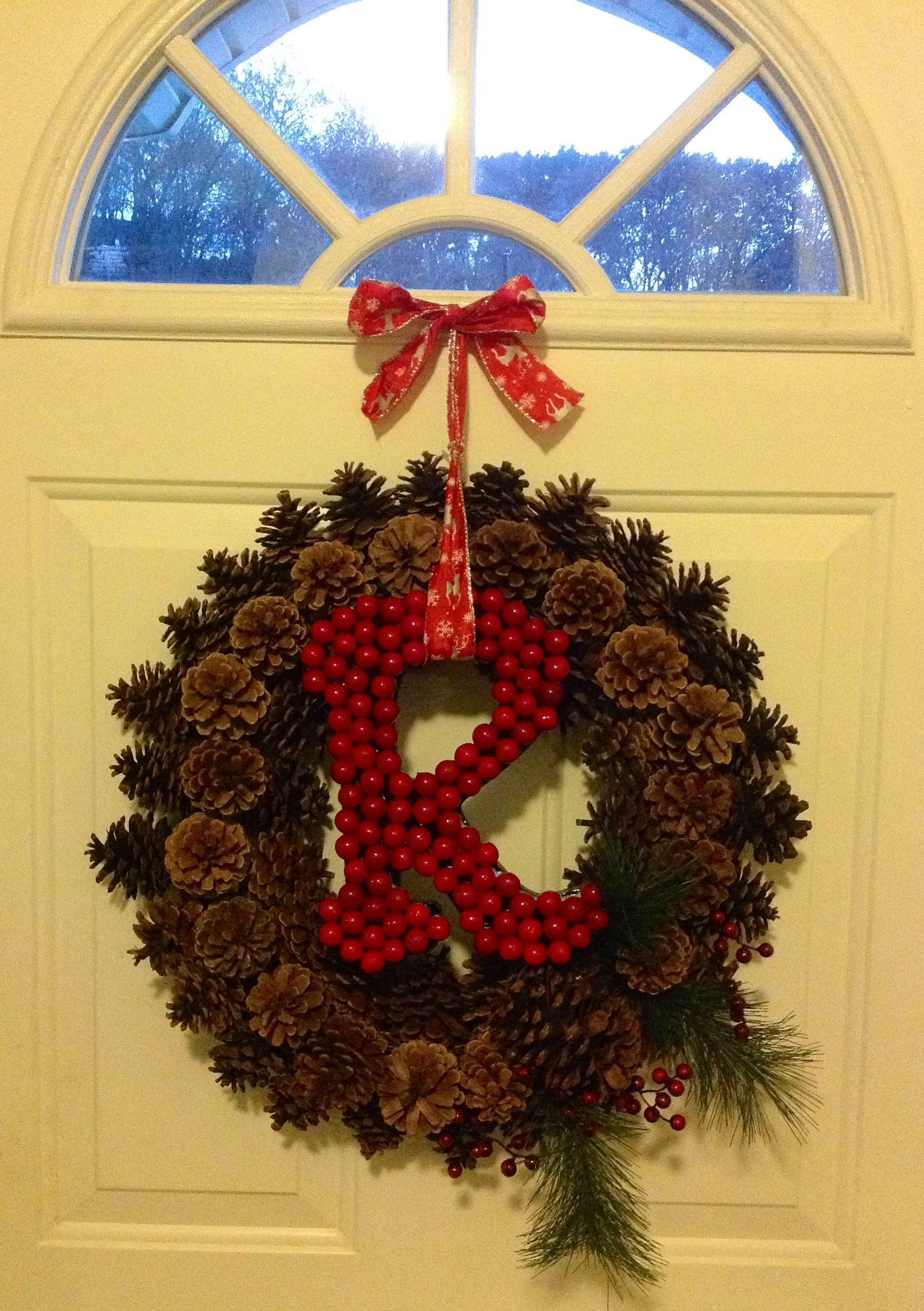 Joann fabrics pine cone wreath black wooden letter and reindeer
