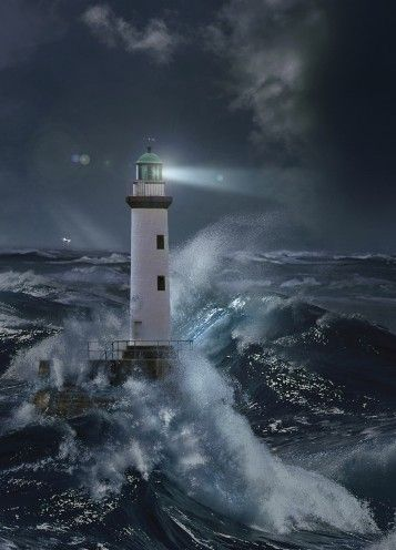 Lighthouse Storm At Night