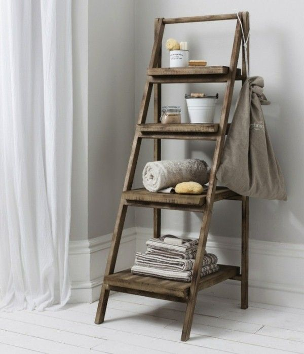 Towel Holder Made Of Wood Models For The Bathroom Wooden Ladder Shelf Ladder Shelf Decor Wooden Bathroom Shelves