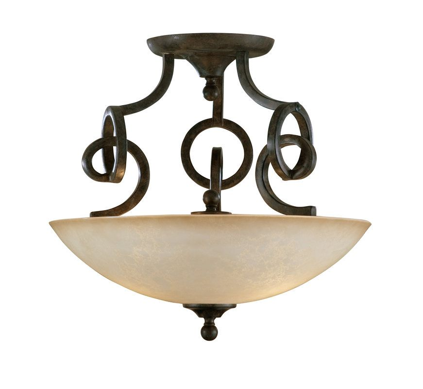 Uttermost 22217 Transitional 2 Light Semi Flush Ceiling Fixture from the Legato Collection   $327.80