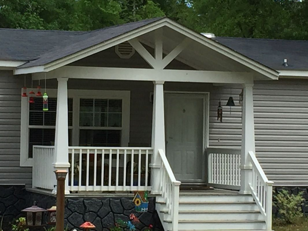 Adding A Gable Roof To An Existing Roof Ideas Black Budget Homes 1000 In 2020 Manufactured Home Porch Mobile Home Porch Porch Remodel