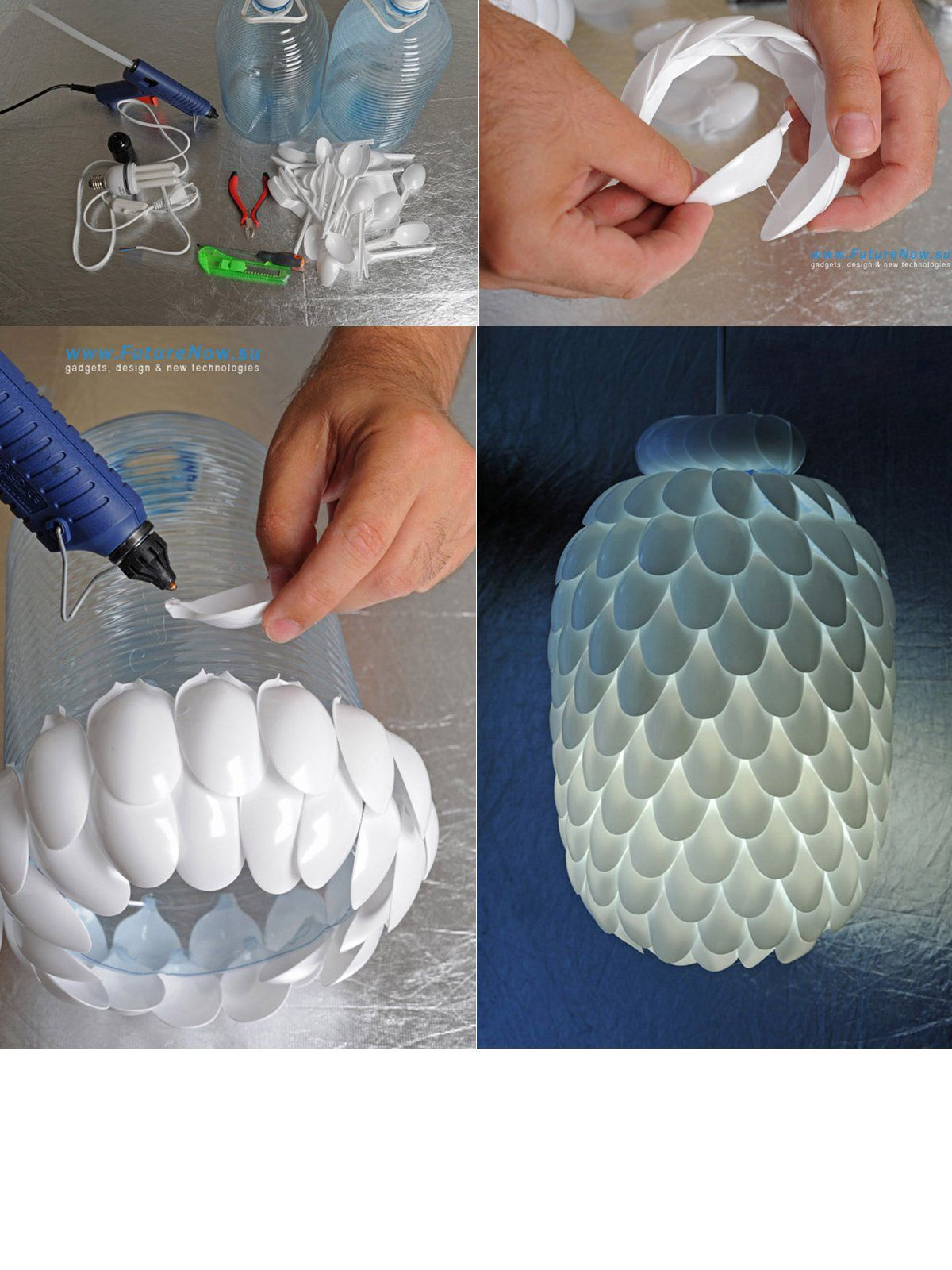Diy spoon lamp made from plastic spoons and bottle became for Waste material craft work with bottles