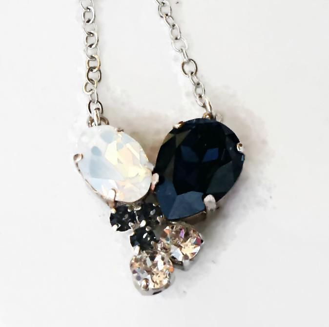 Swarovski crystal graphite and white opal multistone drop pendant swarovski crystal graphite and white opal multistone drop pendant necklace swarovski aloadofball Image collections