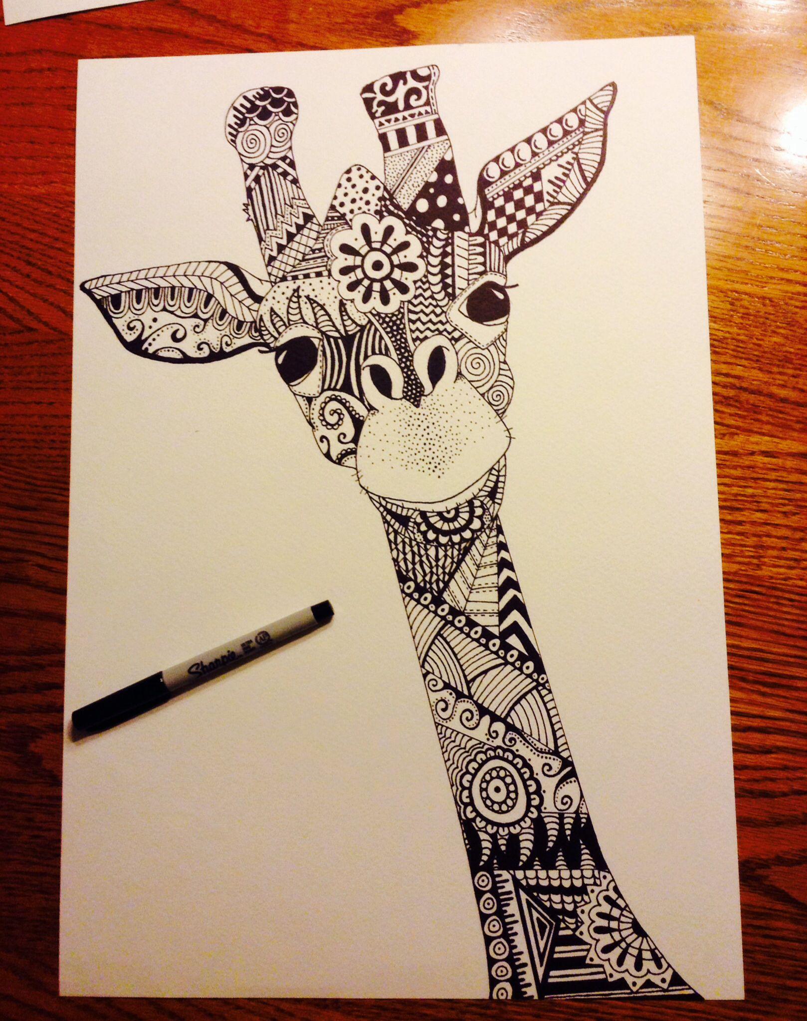 Giraffe Zentangle Sharpie Art - Artist - Liz Leonard ...Cool Giraffe Drawings