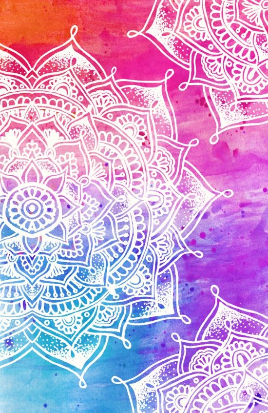 White Mandala on Watercolour Canvas Print